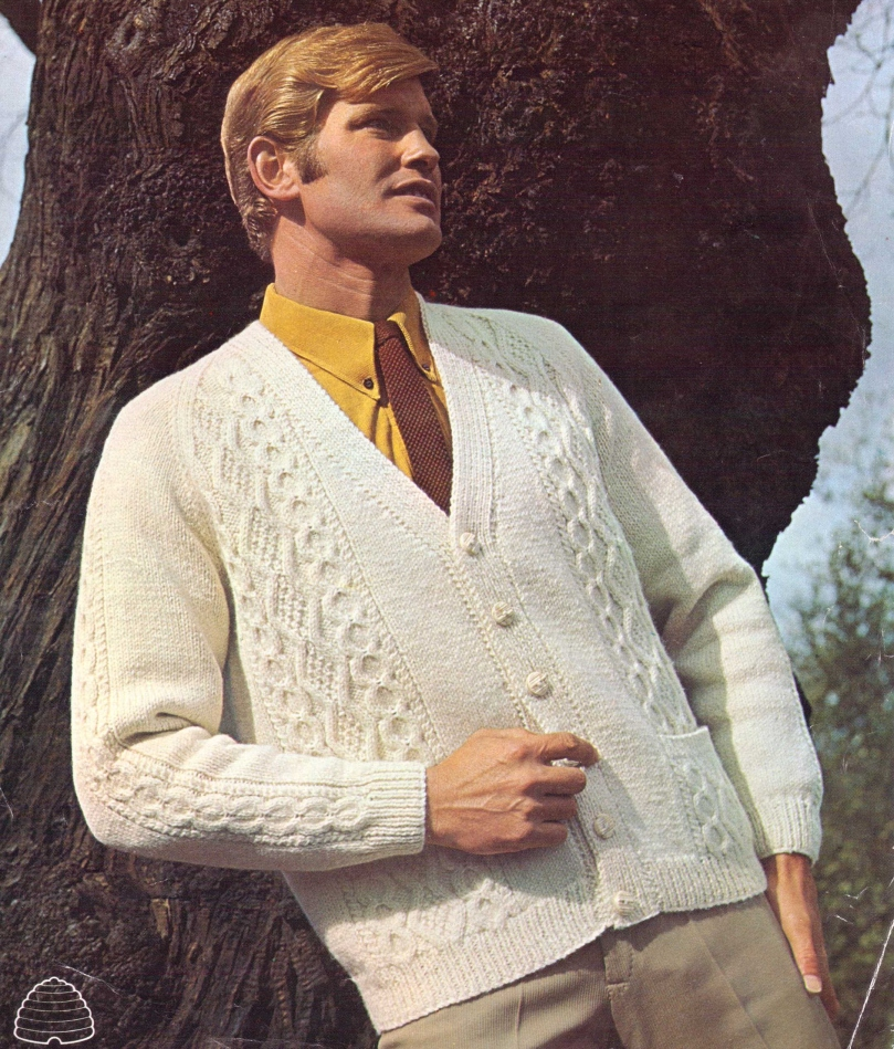 A Nice Aran Cardi For Men Who Lean On Trees – The Sunny Stitcher