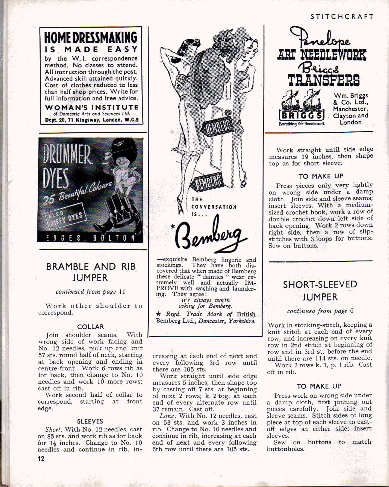 free vintage magazine  stitchcraft october 1945  u2013 the sunny stitcher