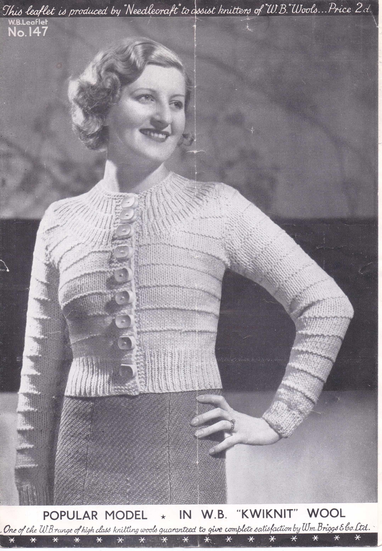 "Free Vintage Knitting Pattern – ""A Popular Model"" 30s Ladies Yoke ..."