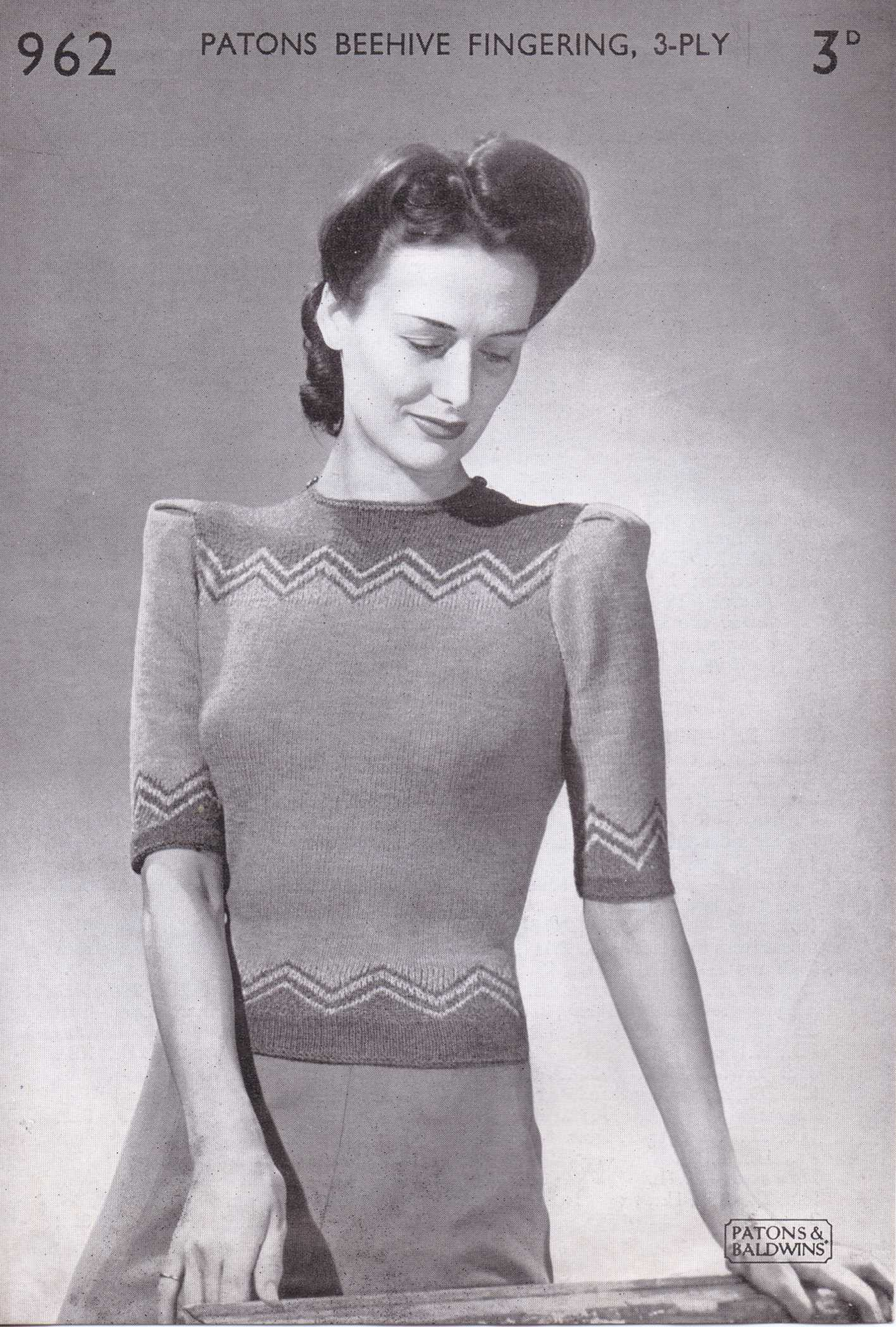 Free Vintage Pattern: 1940\'s ZigZag Top no. 962 from Paton and ...