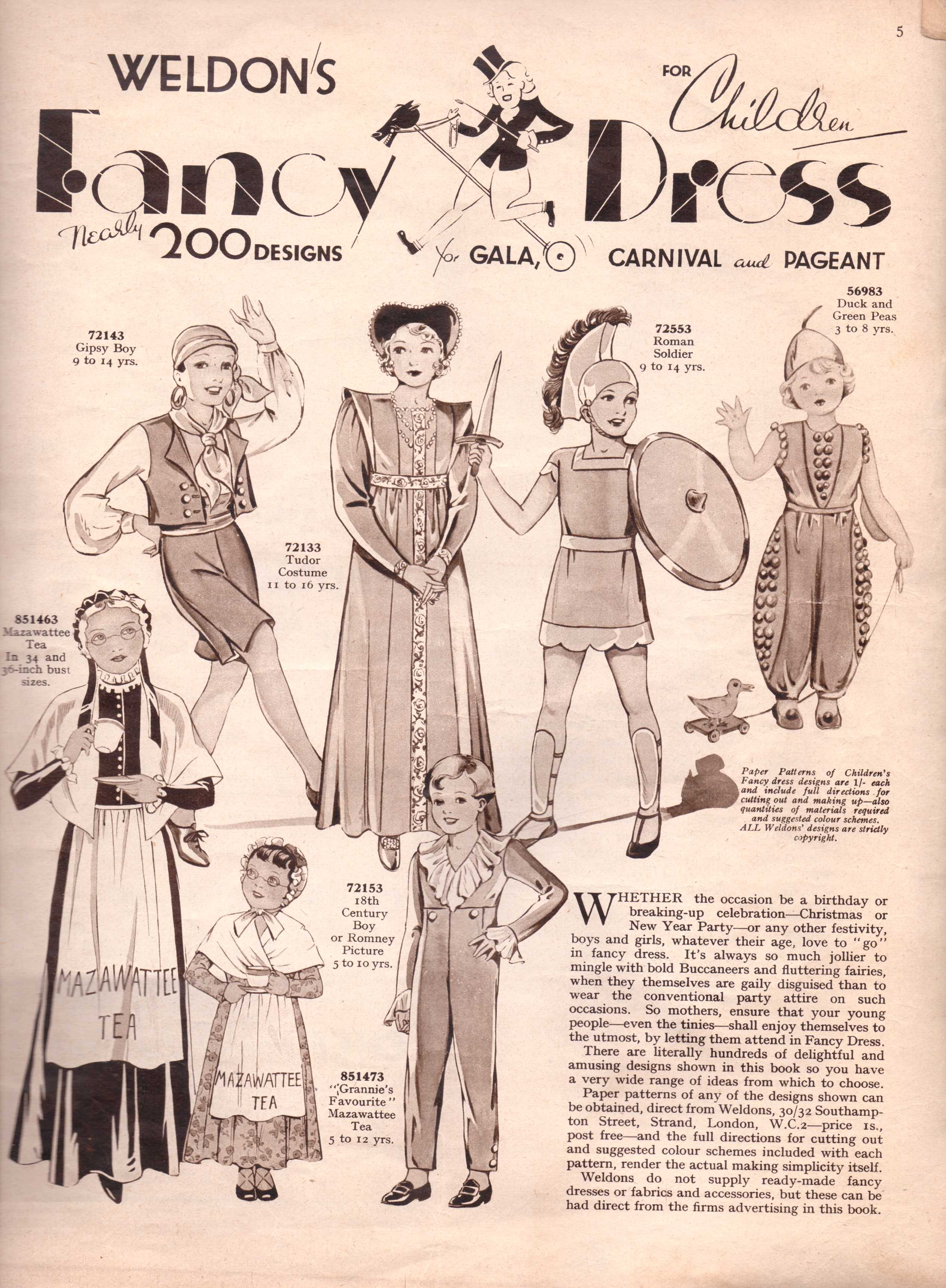 Vintage Sewing Pattern Catalogue – Fancy Dress For Children – The ...