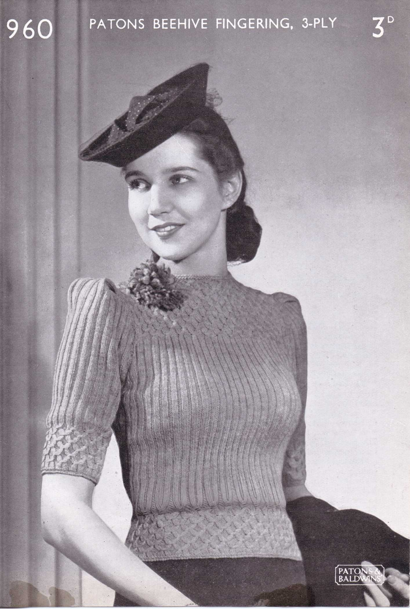 Free Vintage Knitting Pattern – Patons No. 960 – The Sunny Stitcher