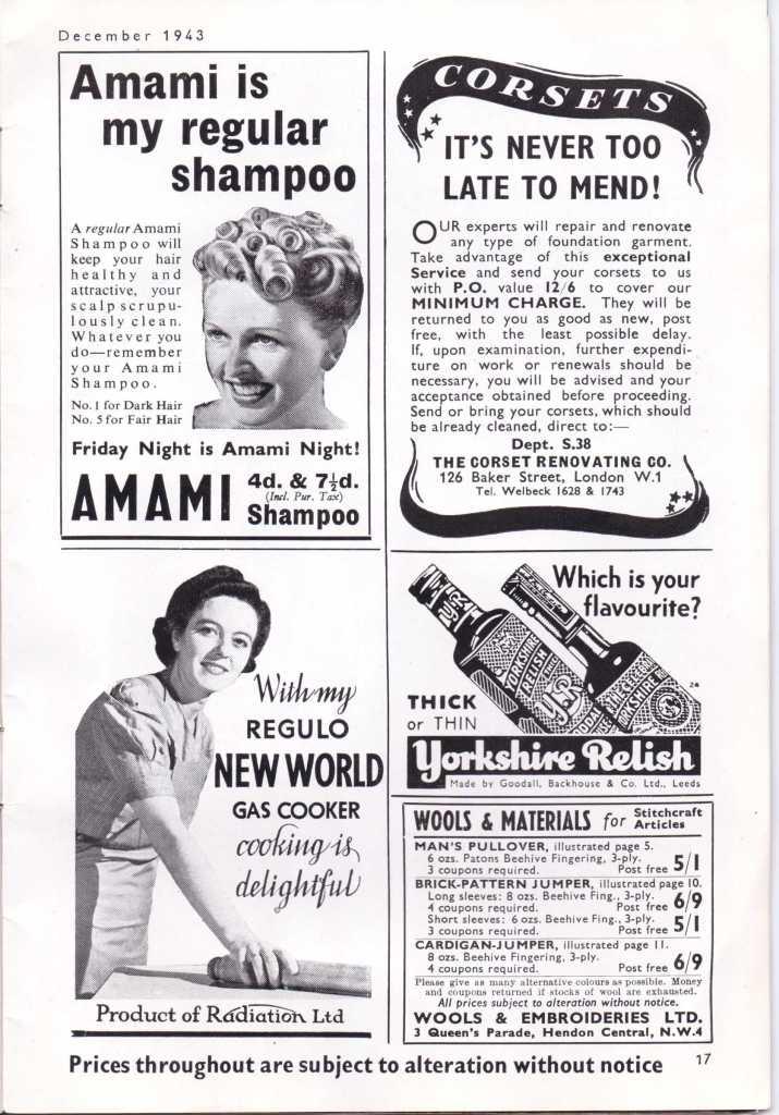 Vintage adverts WW2 Stitchcraft Dec 1943
