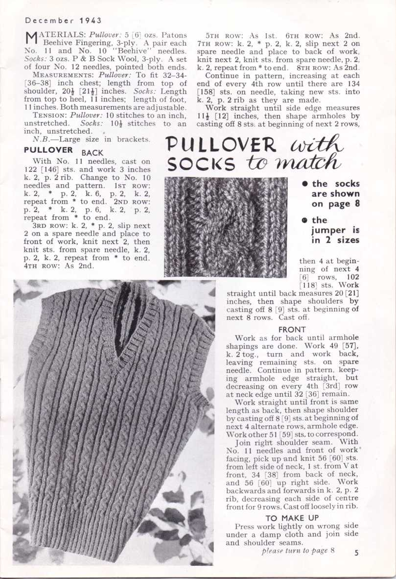 Free Vintage Knitting Pattern WW2 Pullover Socks Stitchcraft Dec 1943 6
