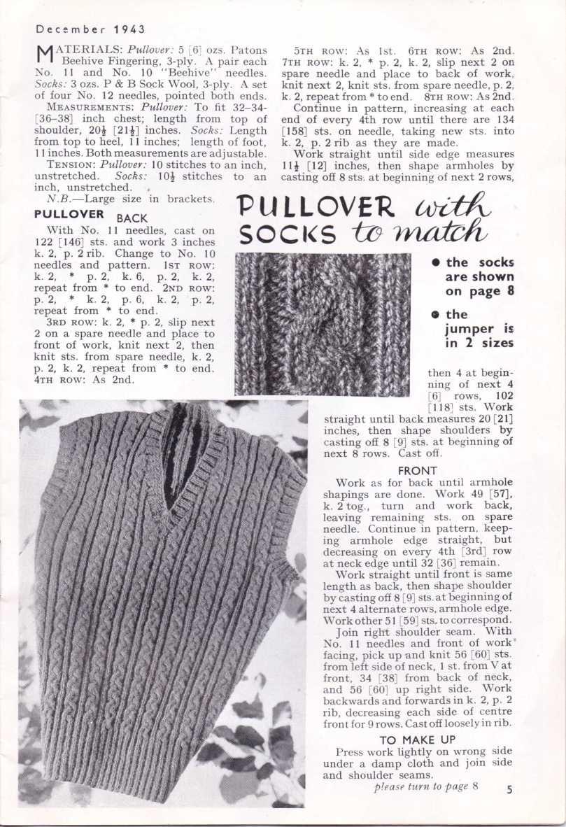 Free Vintage Knitting Pattern WW2 Pullover Socks Stitchcraft Dec 1943 6