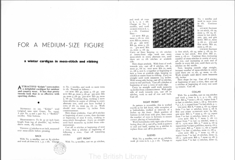 Stitchcraft 139 free vintage knitting pattern 30s thirties