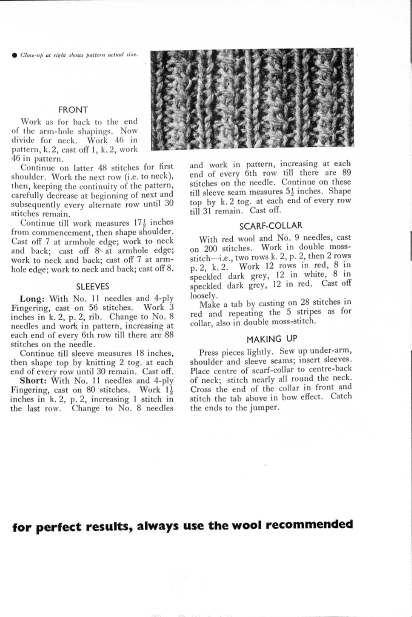 Miss Lemon's Jumper 1930s vintage knitting pattern