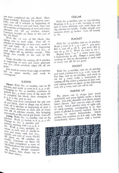 Free vintage knitting patter thirties