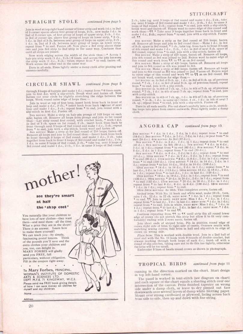 vintage knitting patternstitchcraftjune195223