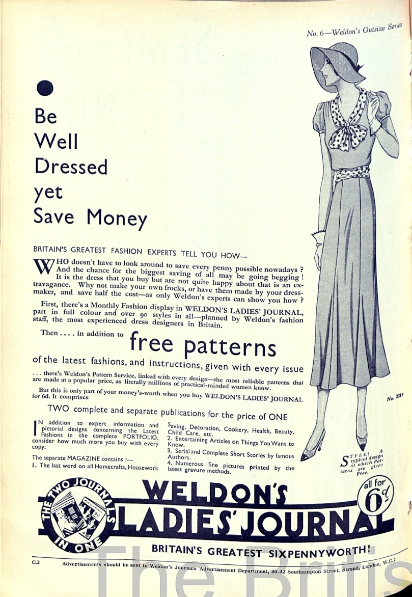Weldon's Ladies' Transfer Series Advert thirties