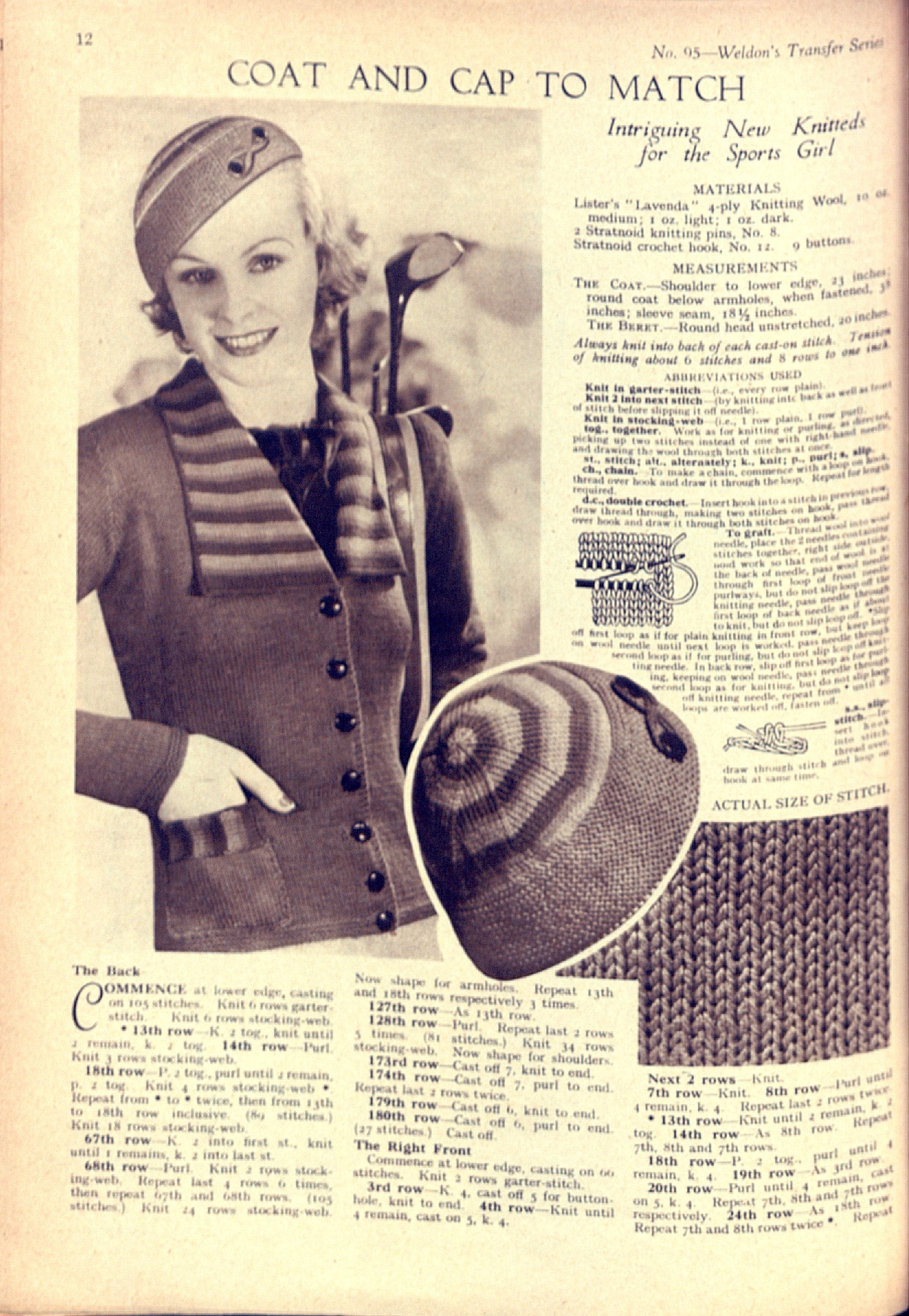 Free Vintage Knitting Pattern: Coat and Cap to match from Weldon\'s ...