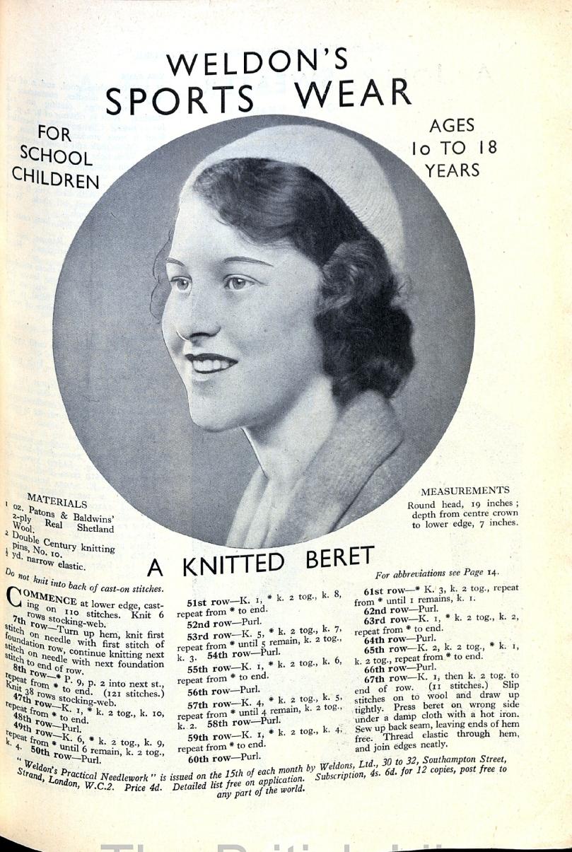 1929 cap pattern free vintage knitting