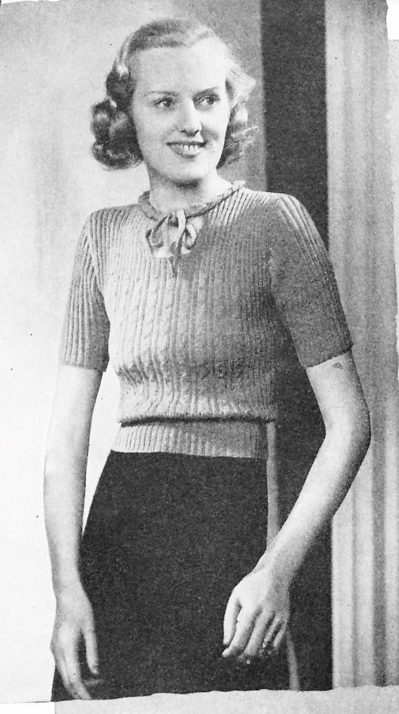 free vintage knitting pattern 1938 A charming jumper