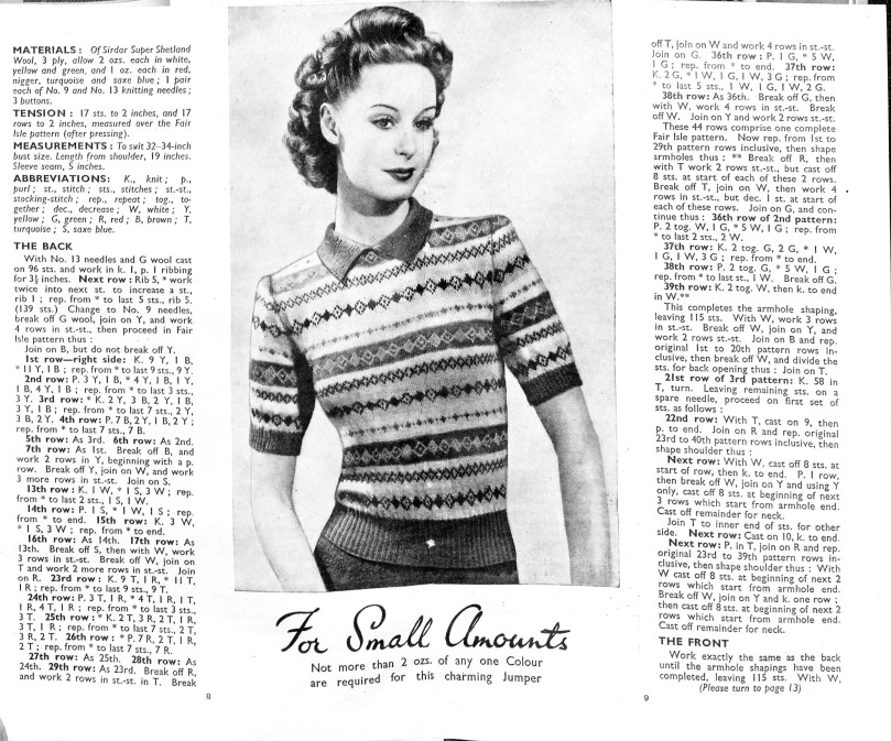 1946 fairisle Bestway Knitting free knitting pattern ladies