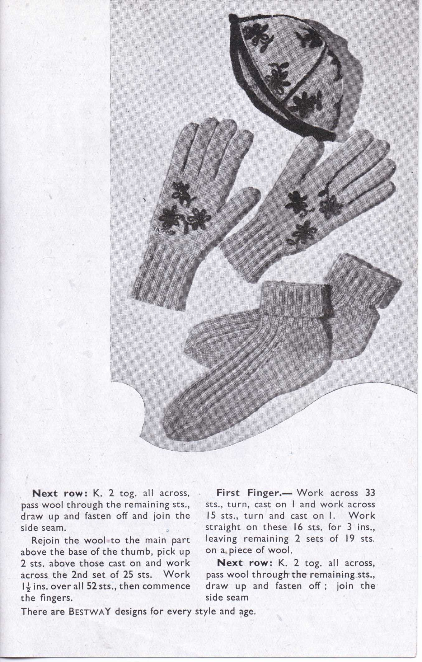 Free Vintage Knitting Patterns 1940s : Free Vintage Knitting Pattern: Bestway 1056 from 1940s Embroidered Ladies Glo...