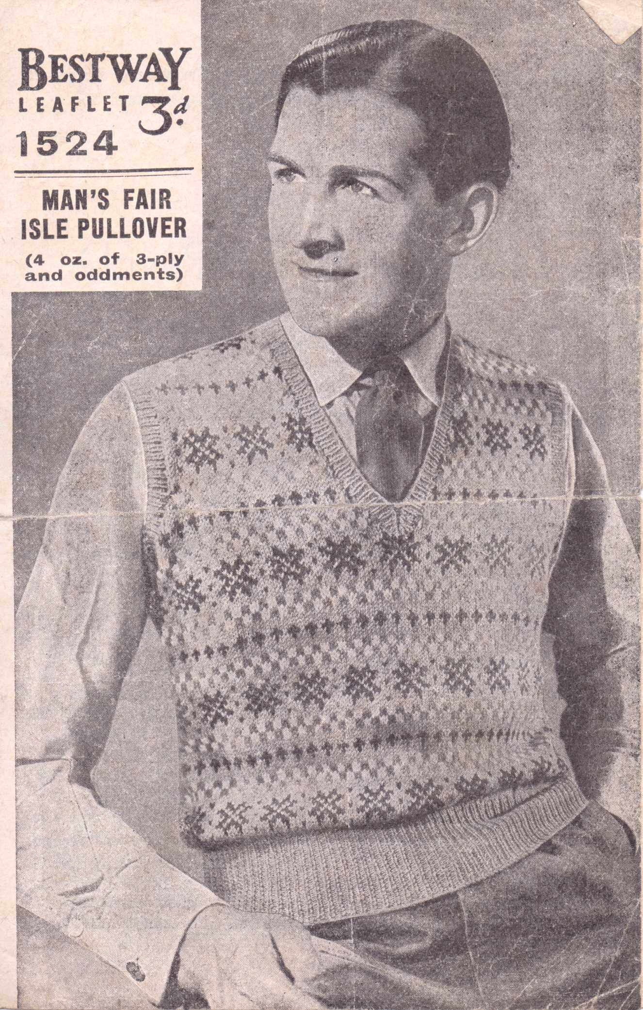Free Vintage Knitting Pattern from WW2: Men\'s Fair Isle Pullover ...