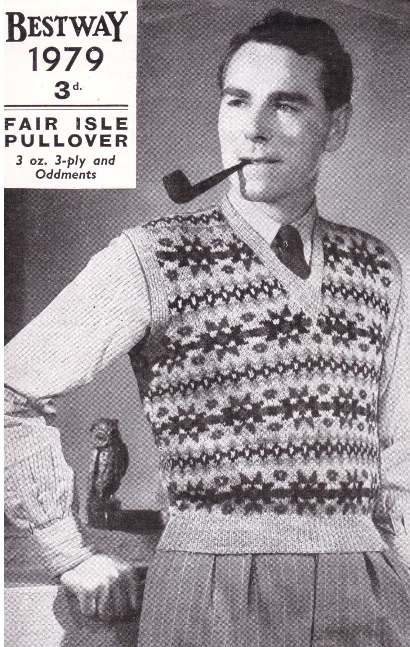 Free Vintage Knitting Pattern: Men\'s Fair Isle Pullover from 1940s ...