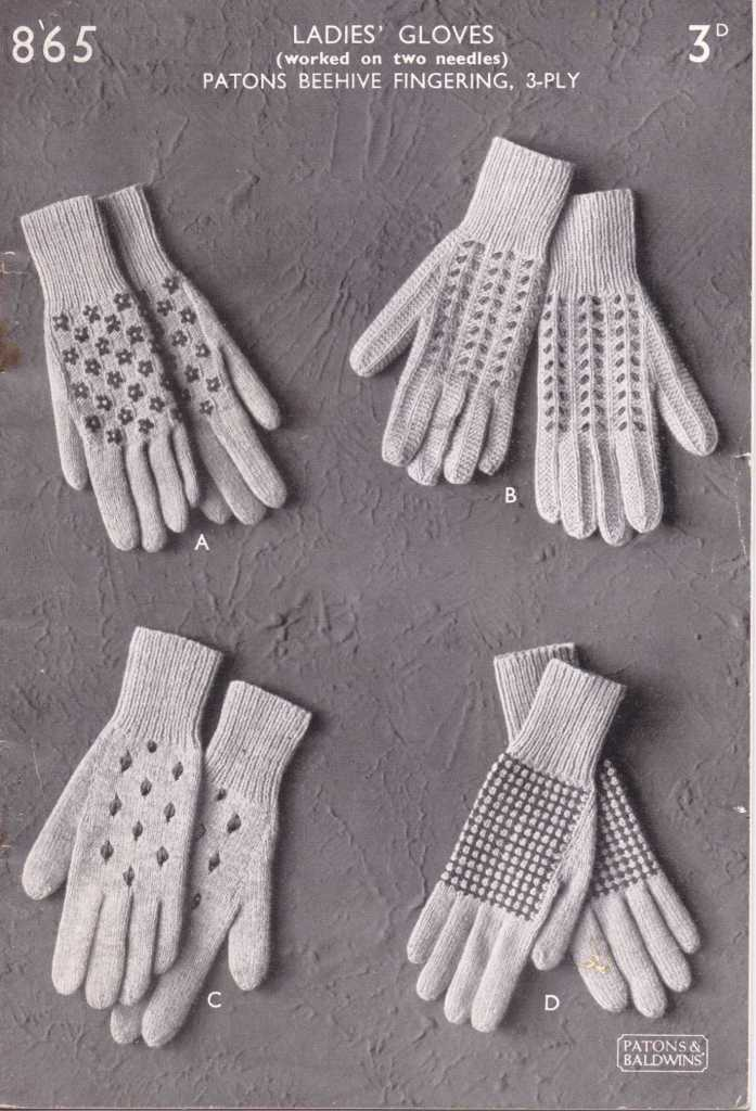Free Vintage Knitting Pattern Ladies Gloves Worked On Two Needles