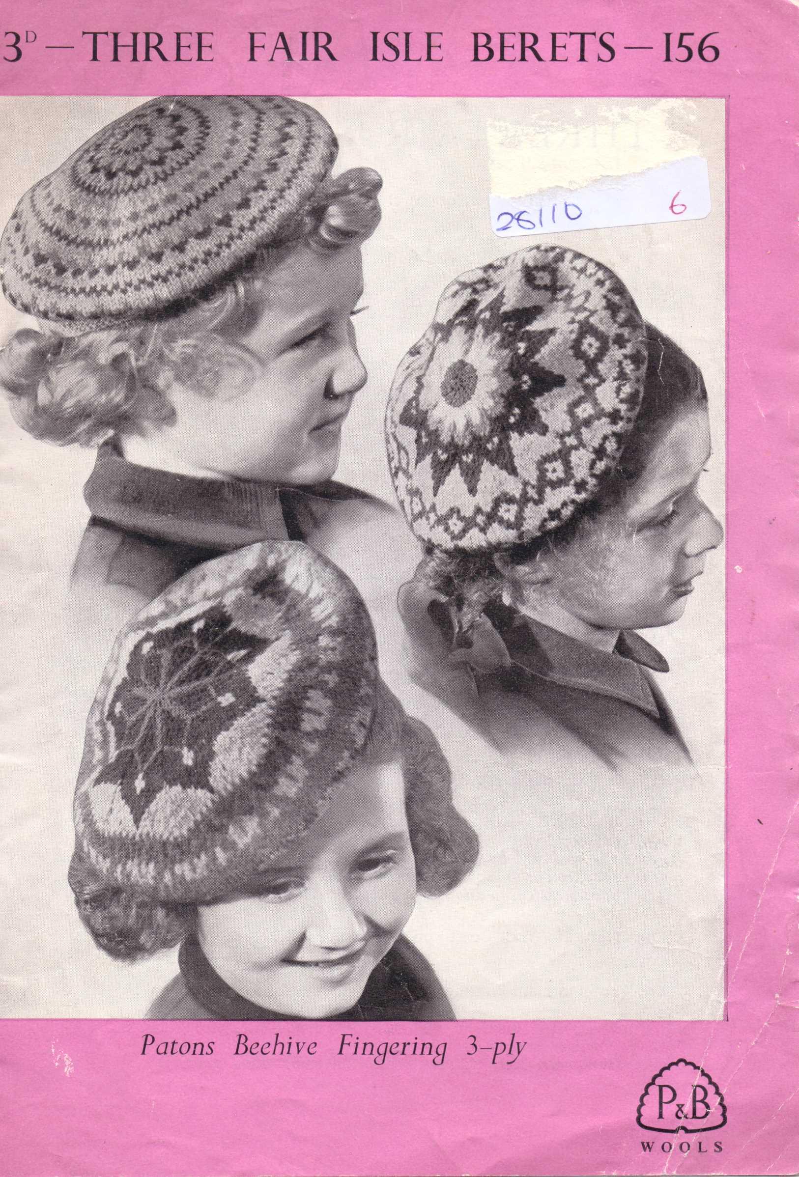 Free Vintage Knitting Pattern: Children\'s fair isle berets – The ...