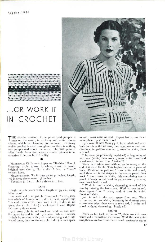 Stitchcraft May 1937 free vintage knitting pattern