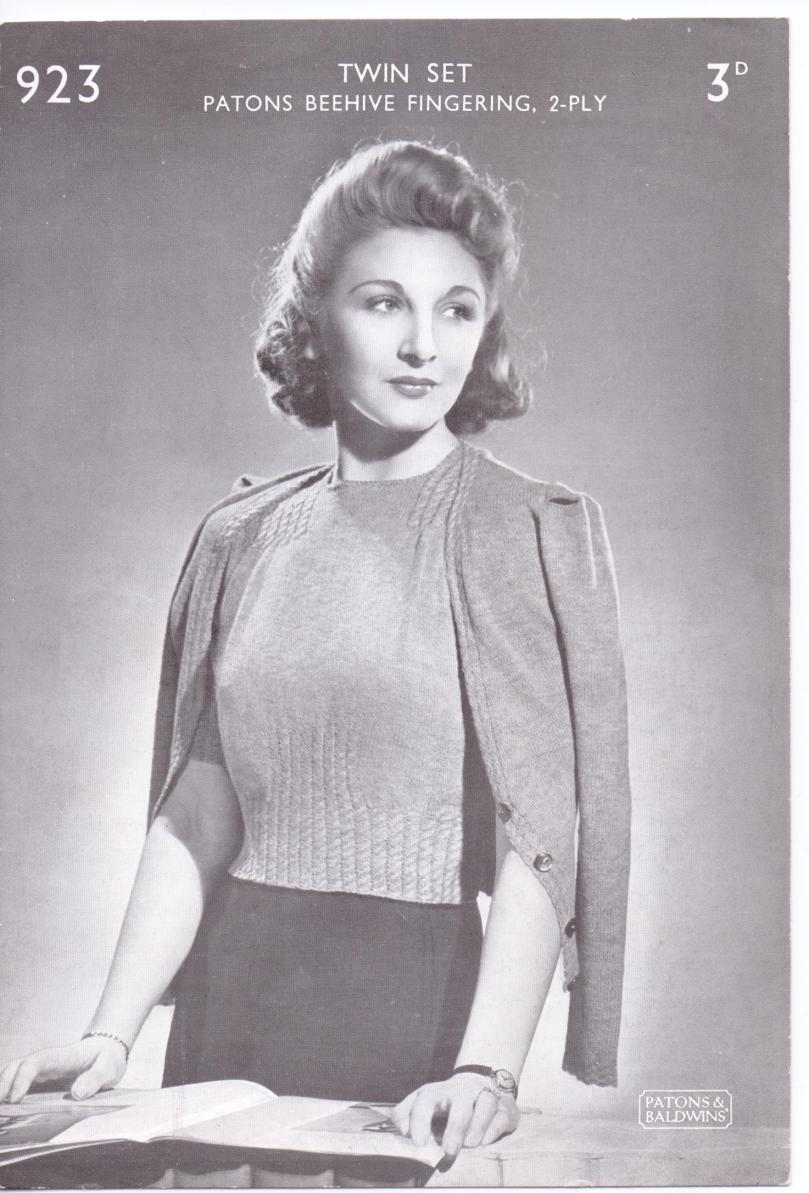 Free Vintage Knitting Pattern WW2 ladies cable twinset – The Sunny ...