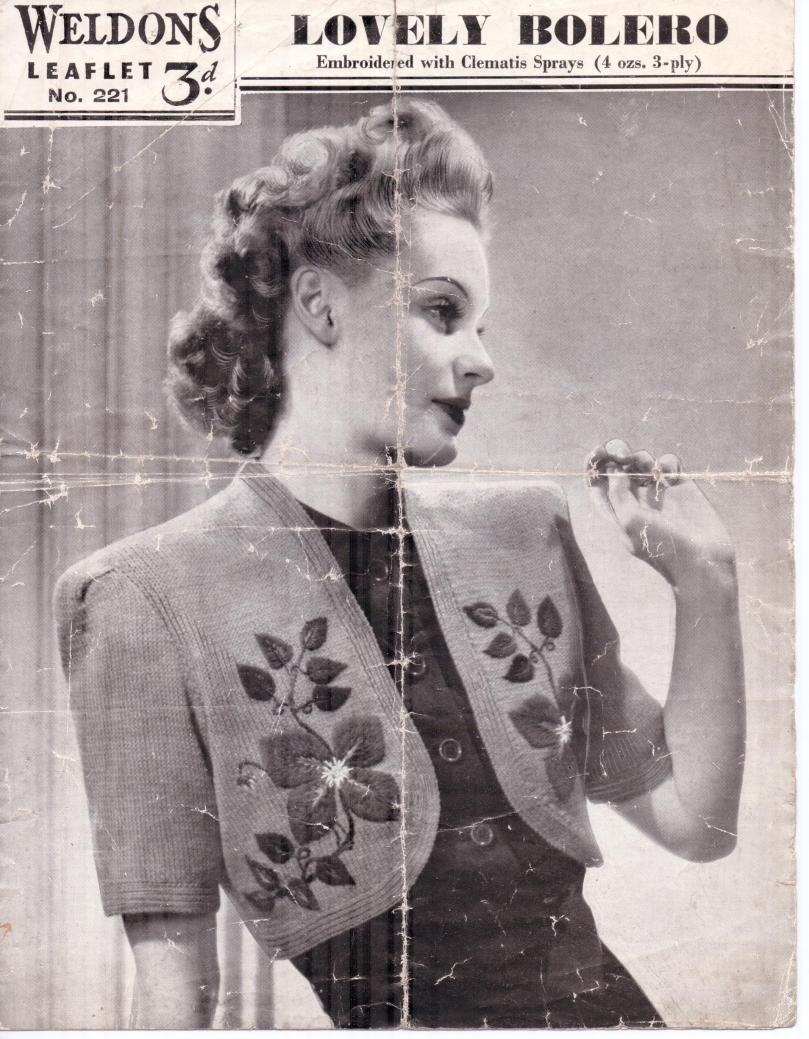 Free Vintage Knitting Pattern from 1940\'s Weldon\'s Lovely Bolero ...
