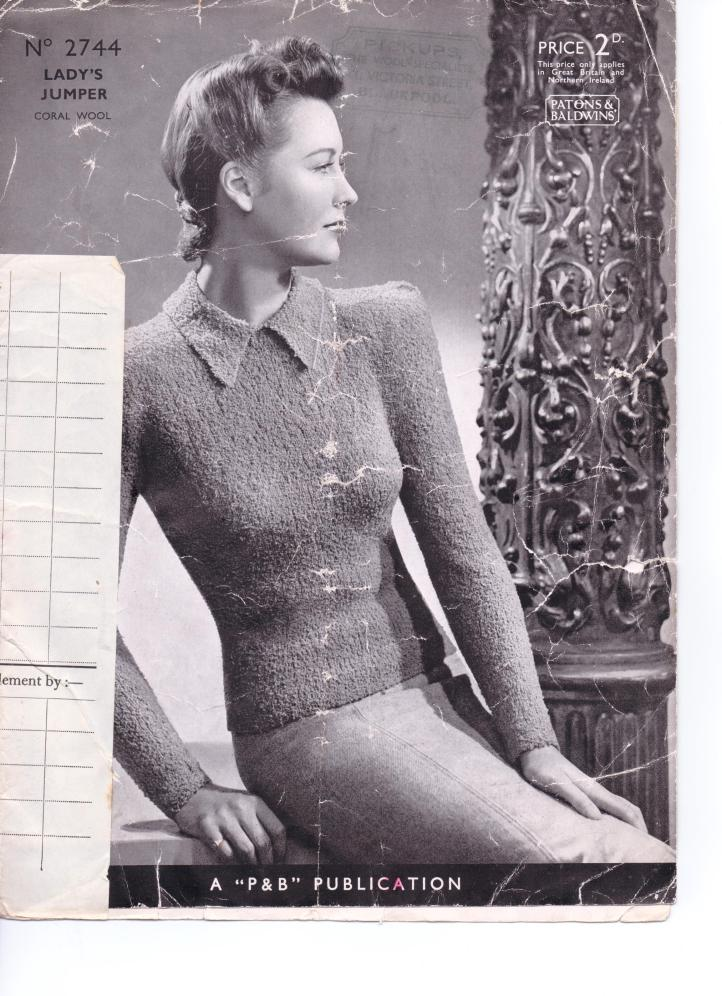 Free Vintage Pattern From The 1940s 1930s No 2744 From Patons